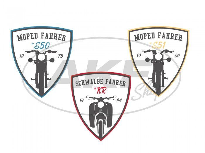 Set 3x Aufkleber Moped Fahrer Wappen S50 S51 Kr