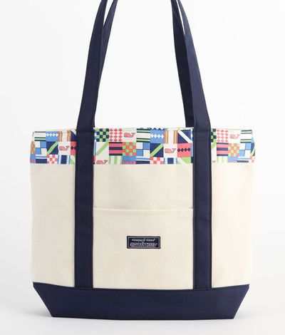 Womens Accessories: Derby Patchwork Classic Tote Bag for Kentucky Derby -Vineyard Vines