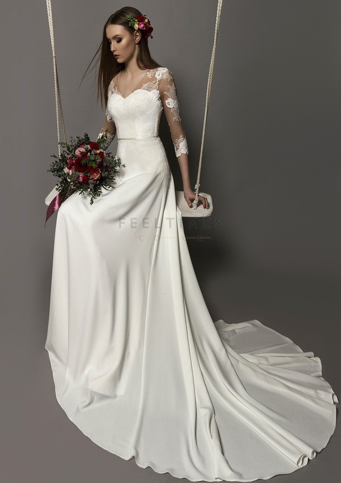 Aline/Princess Satin Wedding Dress 3/4 Sleeve Chapel