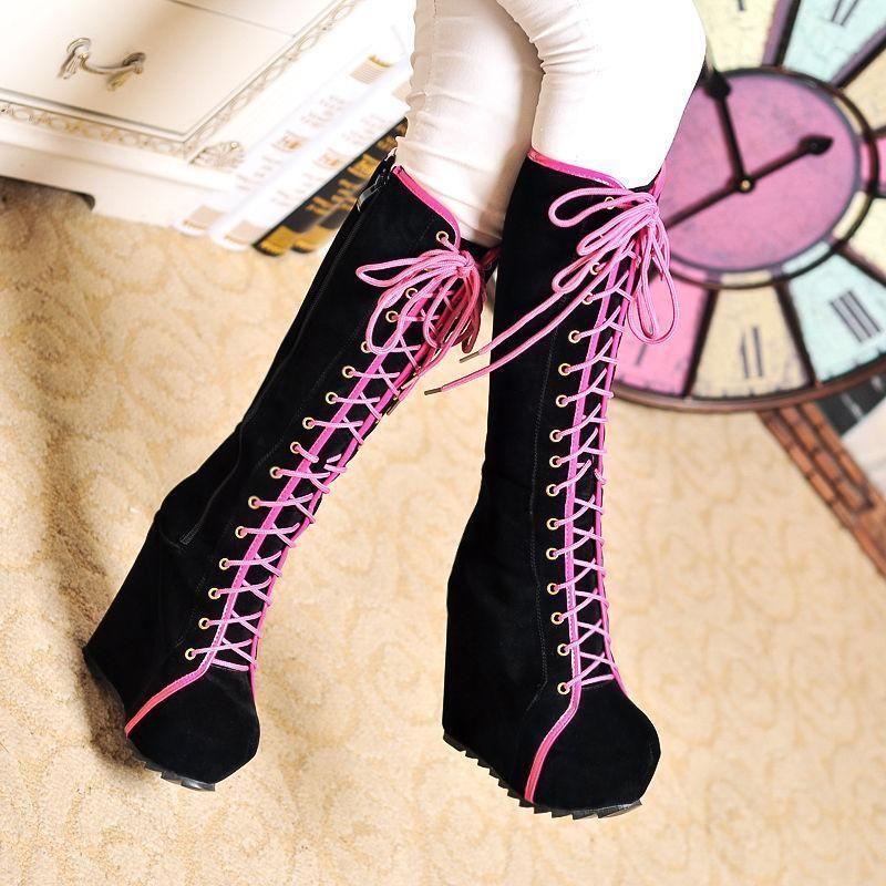 Women s Punk Winter Goth Roman Lace Up Platform Wedge Heels Knee High Boots  Shoe 6077c24f6677