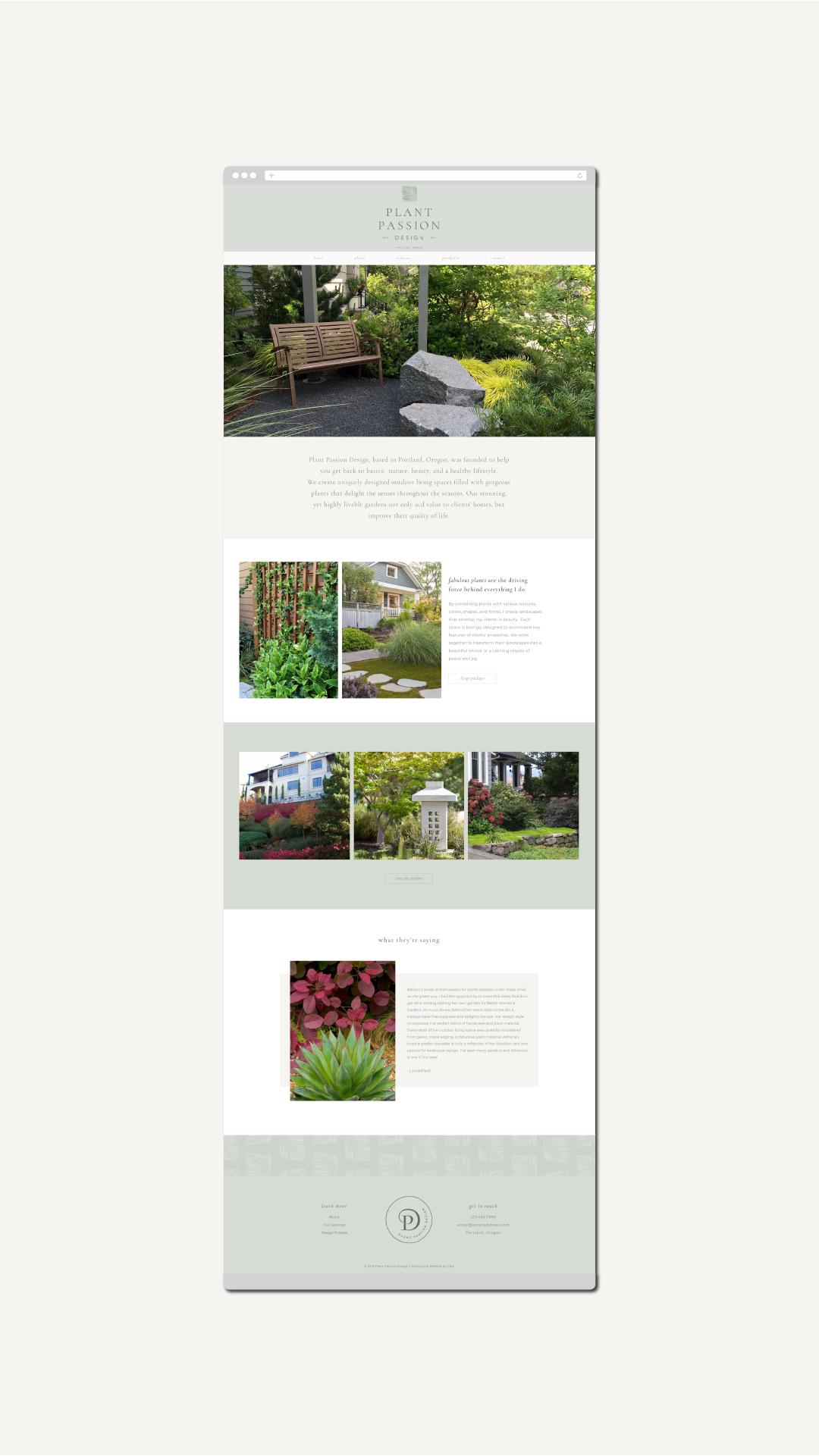 Website Design Concept For A Landscape Designer Branding And Web Design By Charlie Ava Designs Custom Website Design Graphic Design Studios Website Design
