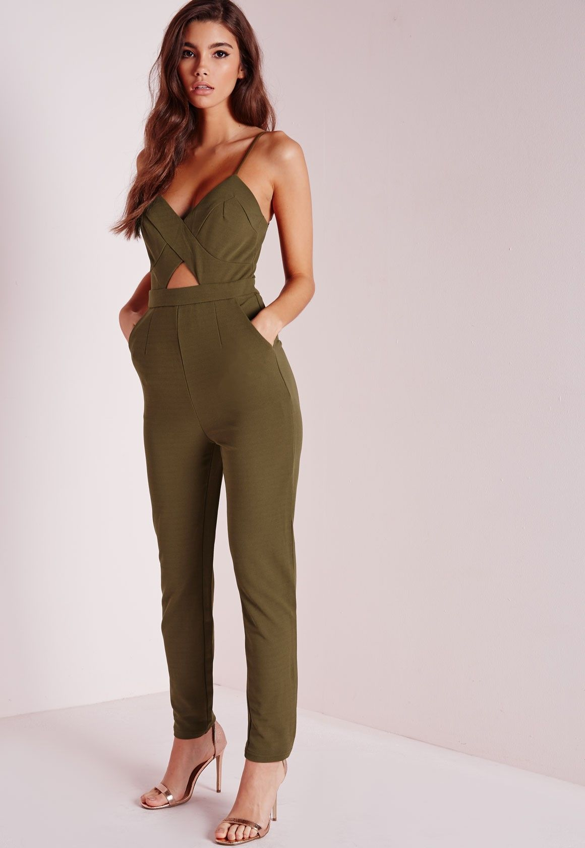 546d85f2d11931 Missguided - Strappy Cut Out Jumpsuit Khaki | Rompers in 2019 ...