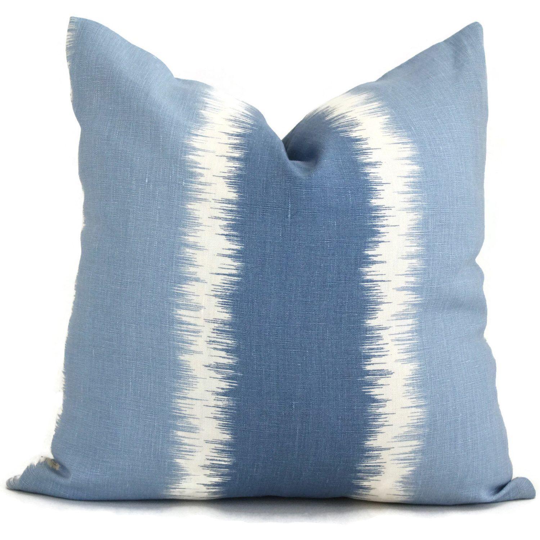 blue stripe ikat thom filicia kravet decorative pillow cover 20x20 toss pillow accent pillow