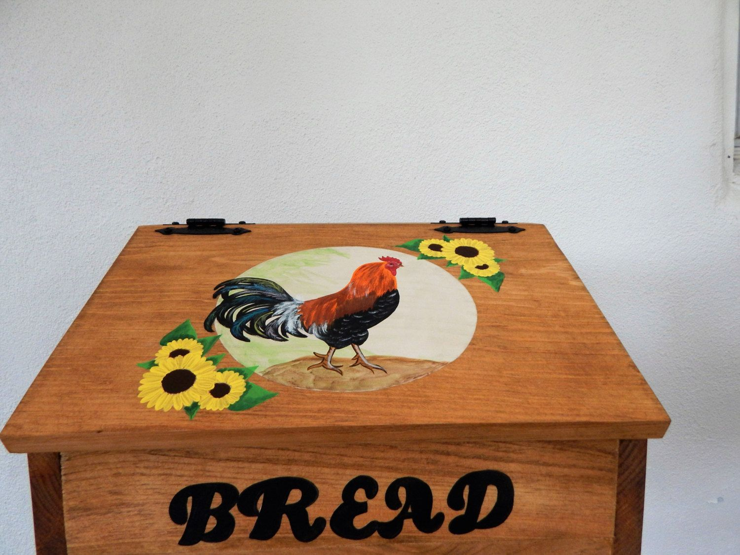 Bread Box,Rooster decor, rooster kitchen, wood bread box,rooster and on rooster rugs sale, rooster rugs oval, rooster & sunflower drawing, sunflower themed kitchen ideas,