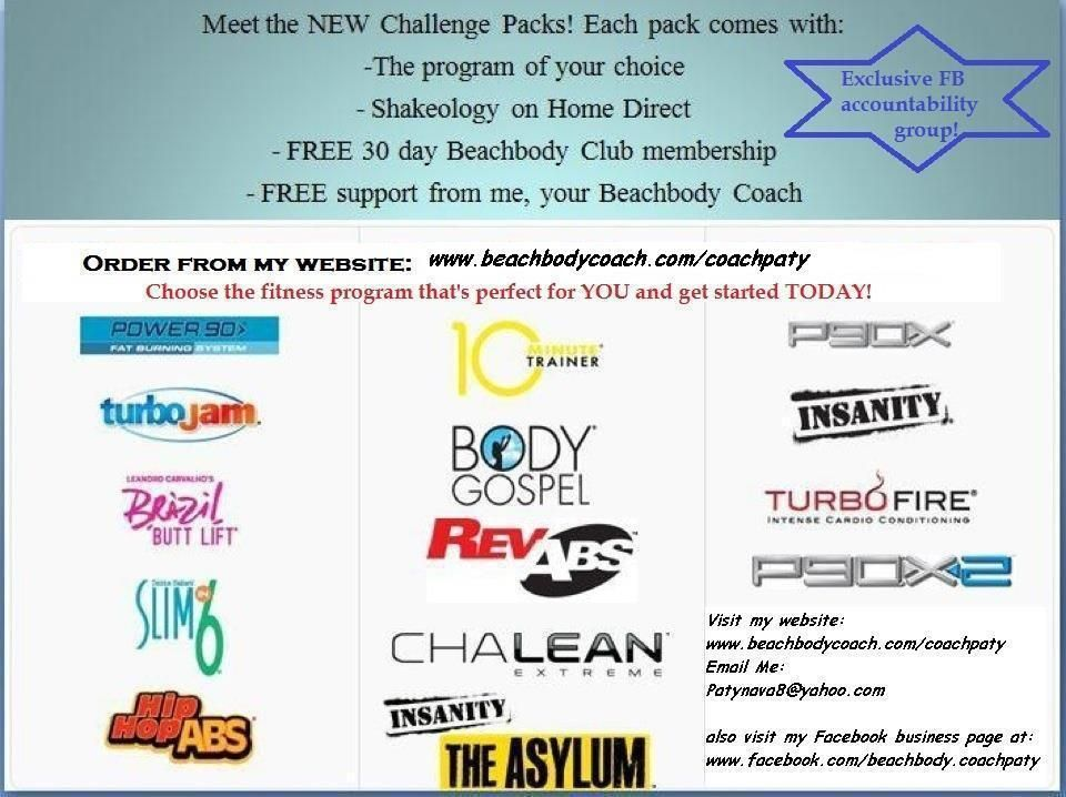 Get Your Challenge Pack Today and Receive FREE Fitness Coaching, Accountability and Support....Join My 90 Day Fitness Challenge ..for more information go to www.beachbodycoach.com/coachpaty