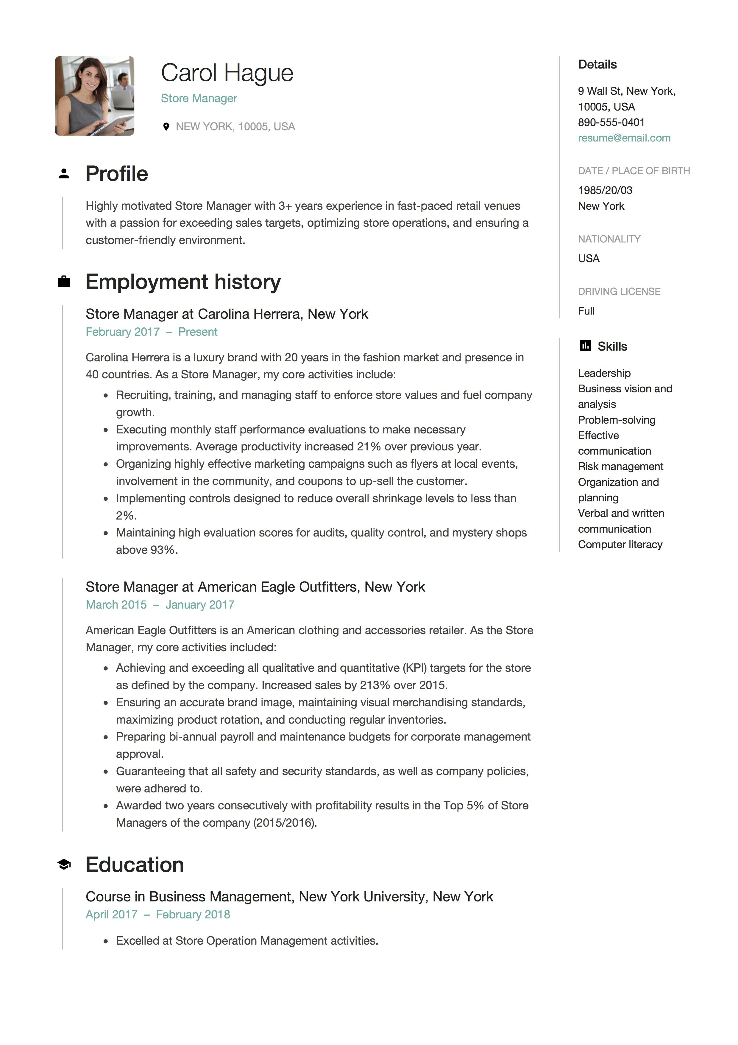Store Manager Resume Sample Template Example Cv Formal Design Manager Resume Resume Guide Sample Resume Templates