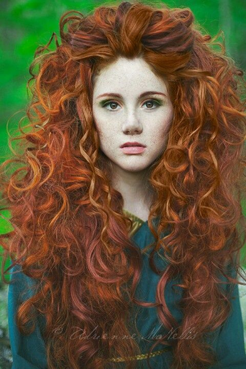 Lovely long curly ginger ha~a~a~a~a~air.       www.madamebridal.com