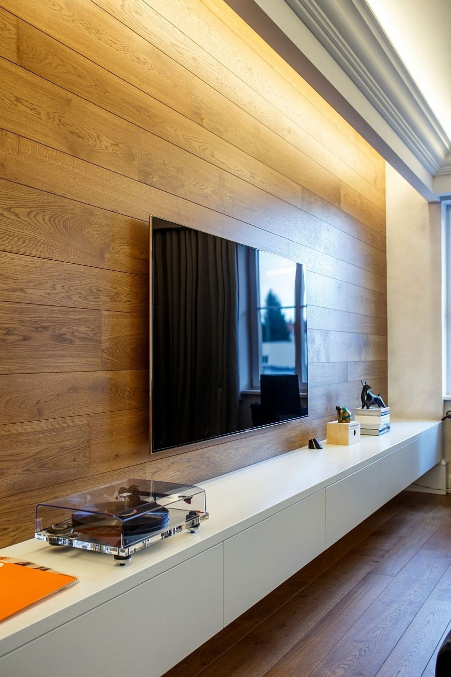 Wooden Wall Panelling Adds Warmth To The Sophisticated Living Room. Tv PanelWall  ...