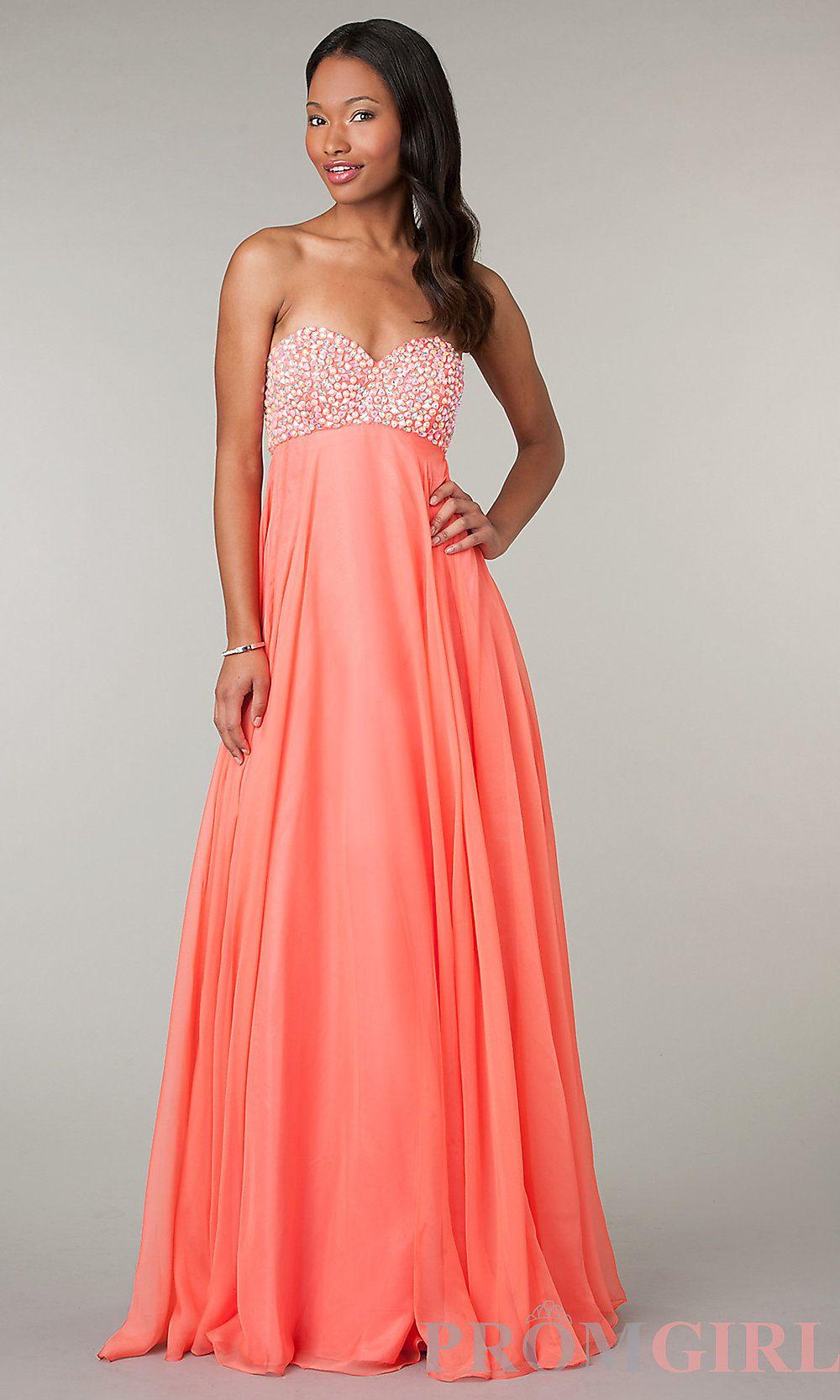 Empire waist floor length strapless sweetheart dress formality