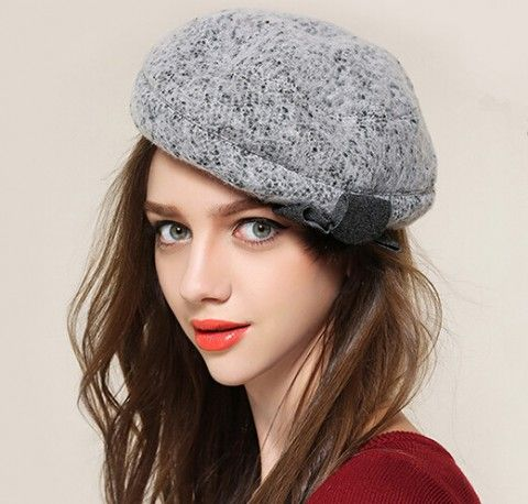 d6d577397e6145 Elegant flower trilby hat for women winter wool beret hats | beret ...
