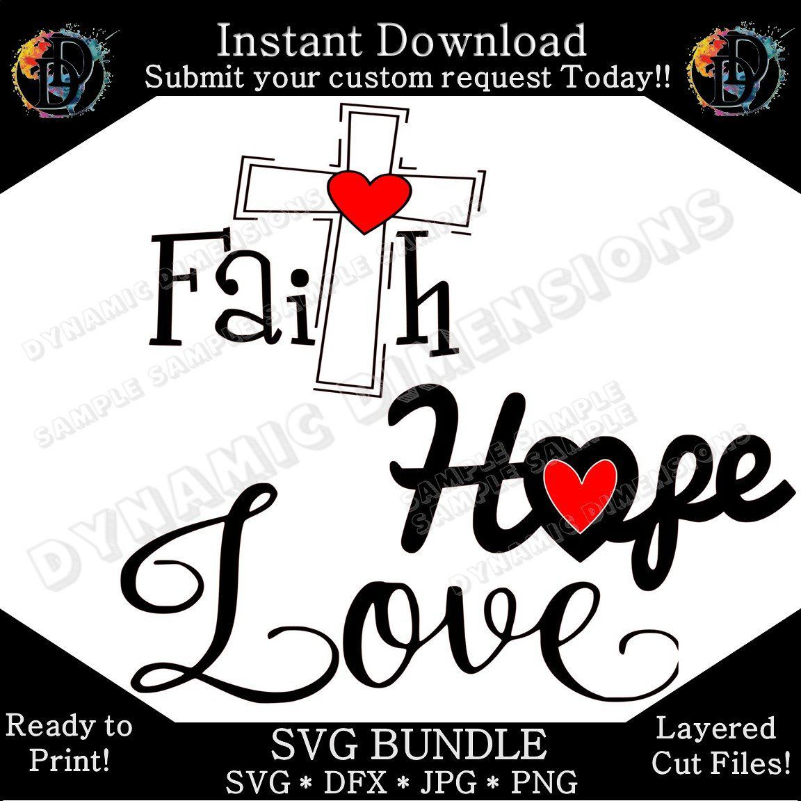 medium resolution of excited to share this item from my etsy shop christian symbols set faith hope love bundle clip art commercial use clipart christian silhouette