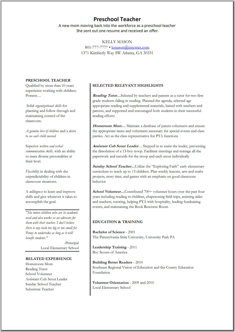 preschool teacher cover letter sample tips resume companion