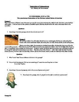 Declaration Of Independence Activity Sheet With Questions This Or That Questions Declaration Of Independence Class Activities