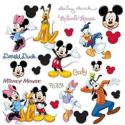 Coole wandtattoos f r die gestaltung der kinderzimmerwand mickey mouse pluto minnie mouse und - Micky maus wandtattoo ...