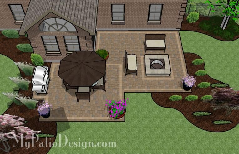 545 sq. ft. - Fun Family Patio Design with Fire Pit | What ...