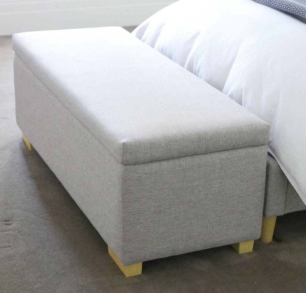 Modus Upholstered Milano Blanket Storage Bench White: LEVI Linen Blanket / Toy Box