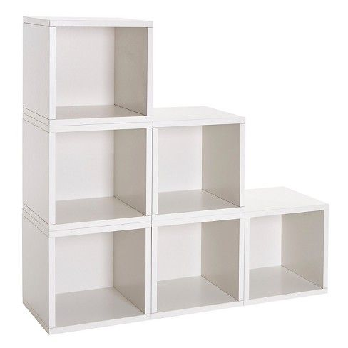 Vinyl Record Storage Cube, Stackable LP Album Cubby by Way Basics, Natural - Lifetime Guarantee, White images