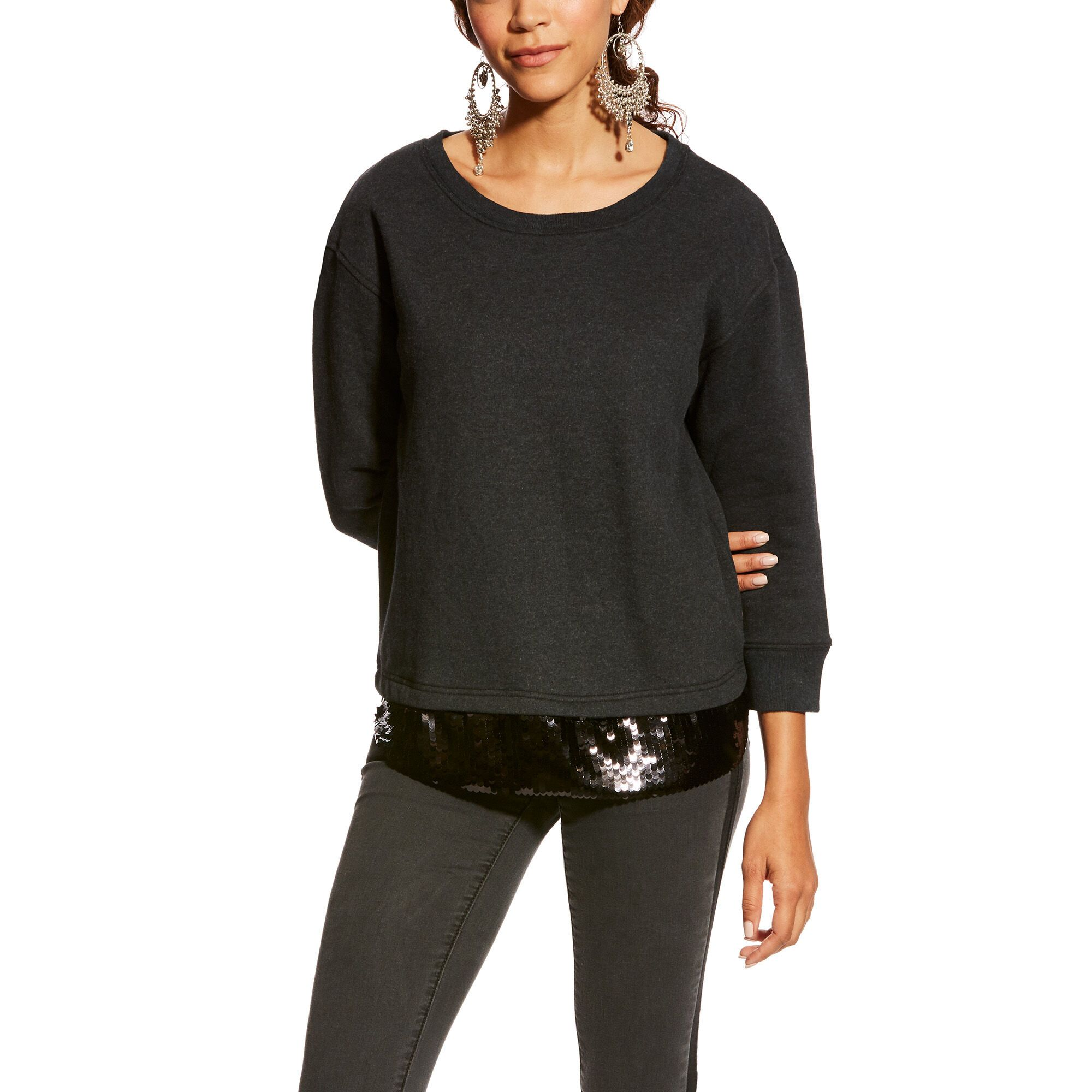 Women's 3/4 Sleeve Dazzle Top Fleece in Heather Charcoal, Large by Ariat