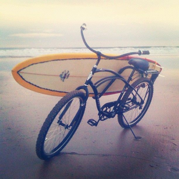 Bicycling And Surfing Blend At Beach In Montauk Beach Cruiser