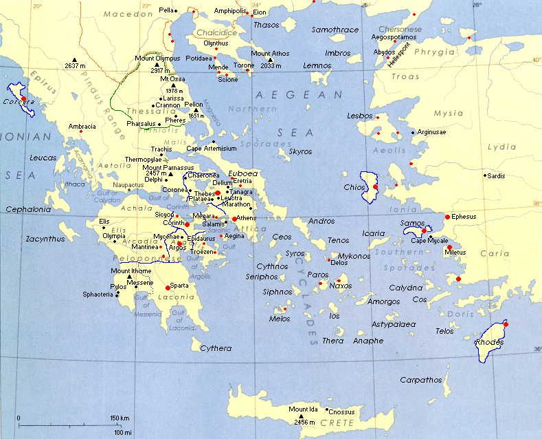 This map of Ancient Greece depicts the major seas that were vital to