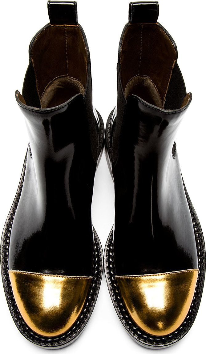 afdd81dbb Marni Black and Gold Metallic Cap Toe Chelsea Boots Booties Size US ...