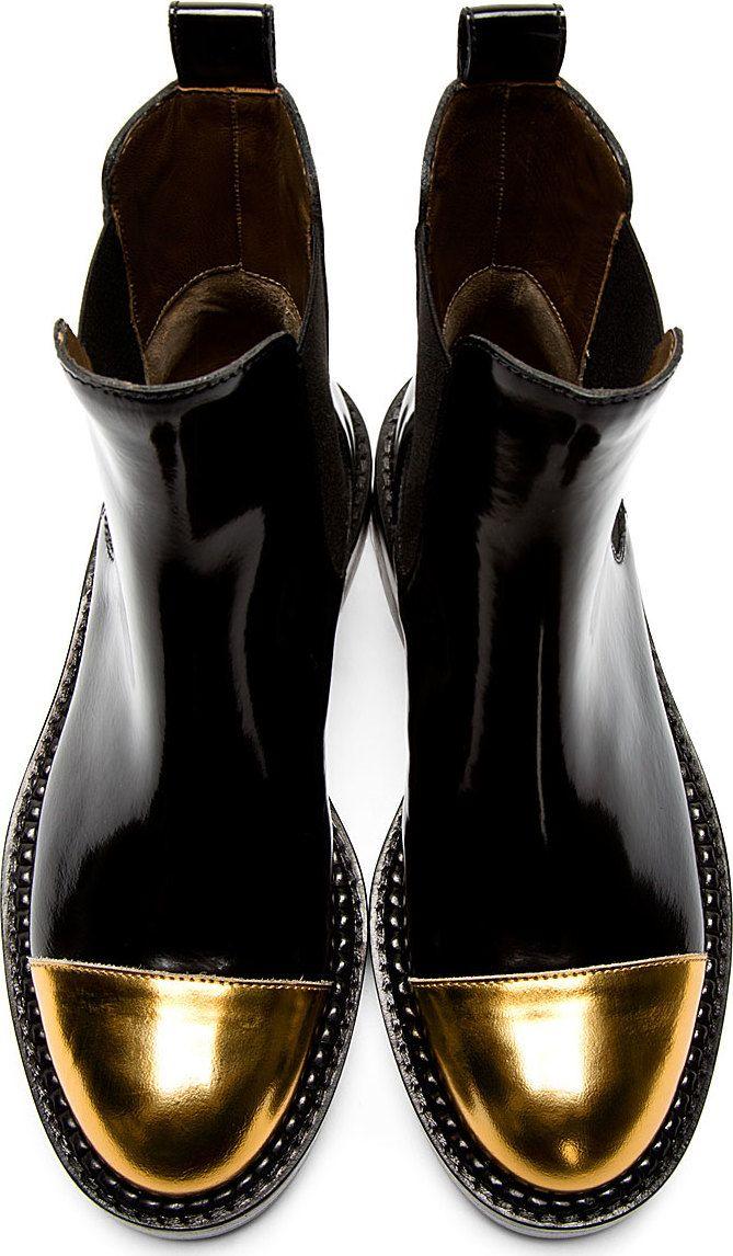 62edb3c55fbd Marni Black and Gold Metallic Cap Toe Chelsea Boots Booties Size US ...