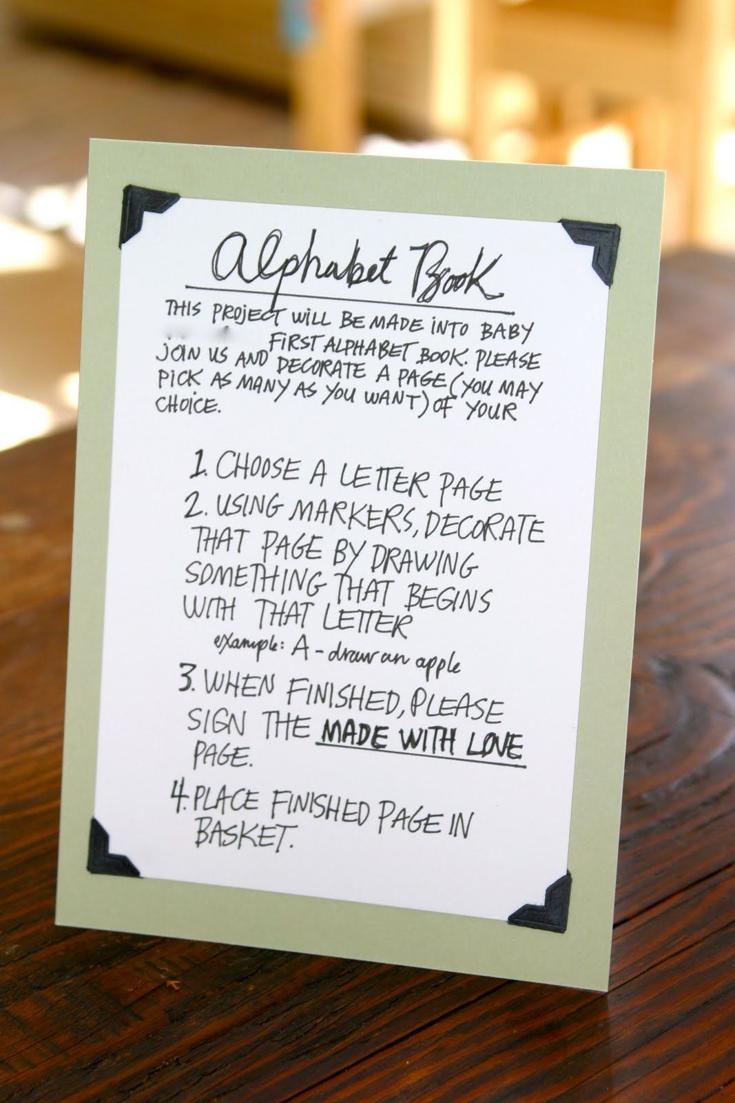 Baby Shower Alphabet Book     Baby Shower Idea    Each Guest Chooses A  Letter And Draws A Picture Of Something That Starts With That Letter And  Then Make ...