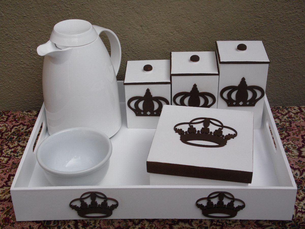 Kit Higiene Bebê 7pçs Mdf Decorado No Tema Coruja Ou Coroa  R$ 169,00 no Me -> Kit Banheiro Mdf Decorado
