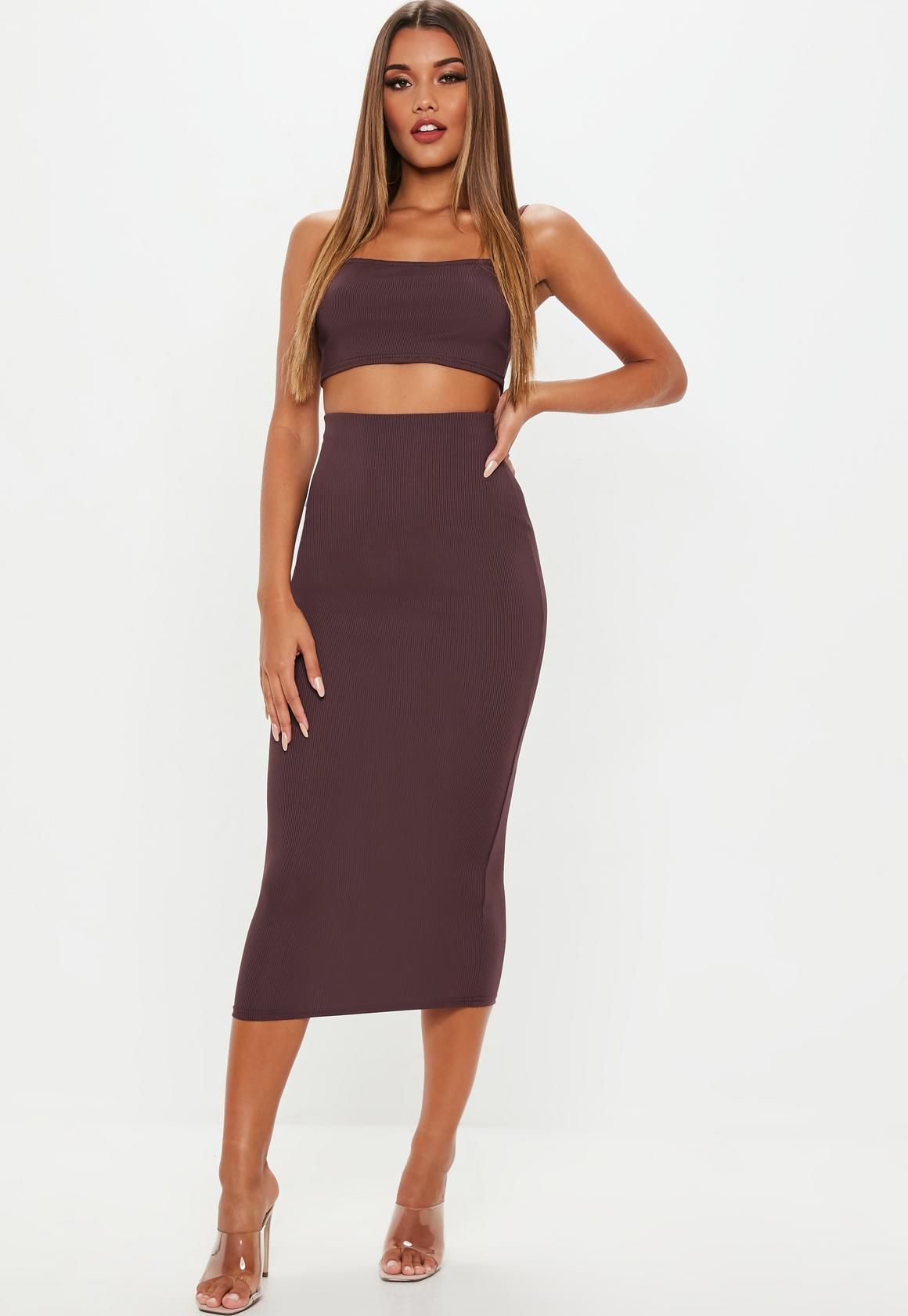 34b74e7762135a Missguided - Plum Ribbed Midi Skirt And Strappy Top Co Ord