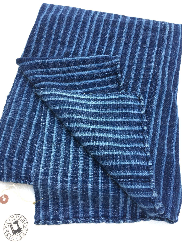 Mud Cloth Dark Indigo Stripes Authentic Vintage African Fabric
