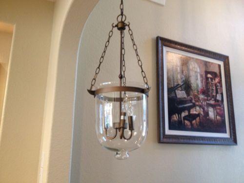 Antique Brass Bell Shaped Clear Glass Jar Shade Chandelier Pendant