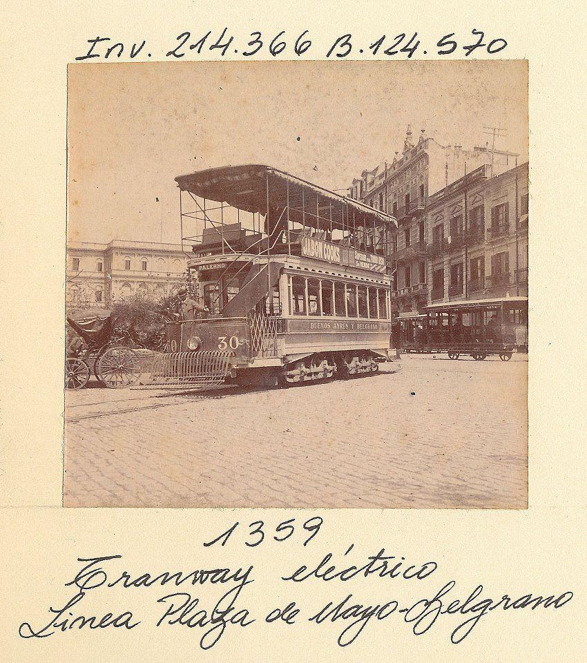 1897 Buenos Aires, Linea Plaza de Mayo-Belgrano, Tranvía eléctrico de 2 pisos -Archivo Gral de la Nacion
