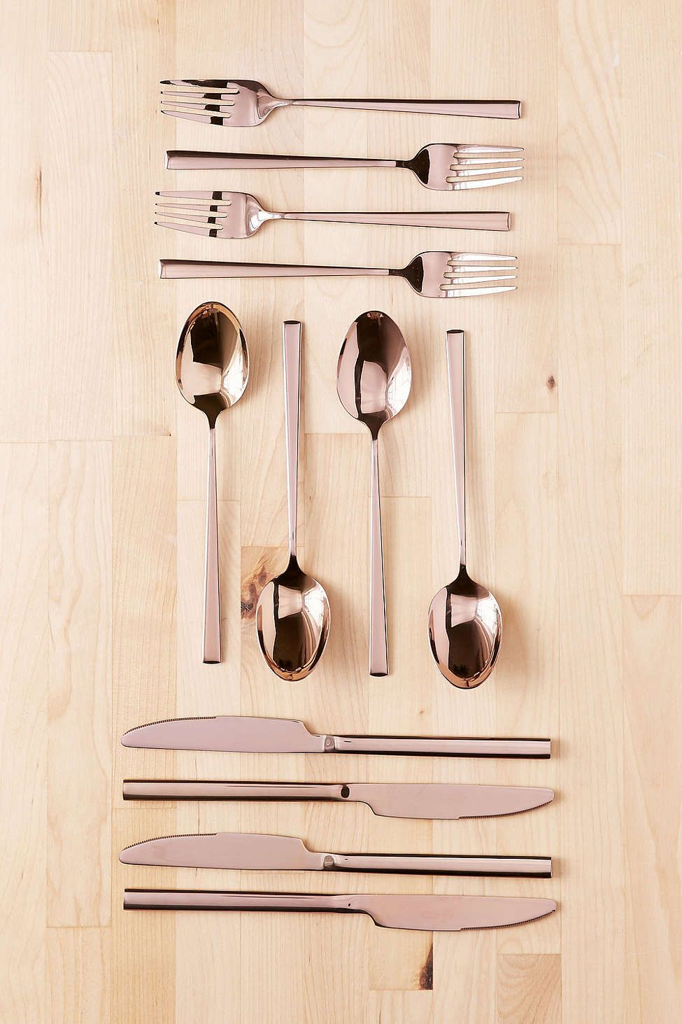 12-piece metallic rose gold flatware set | rose gold | pinterest