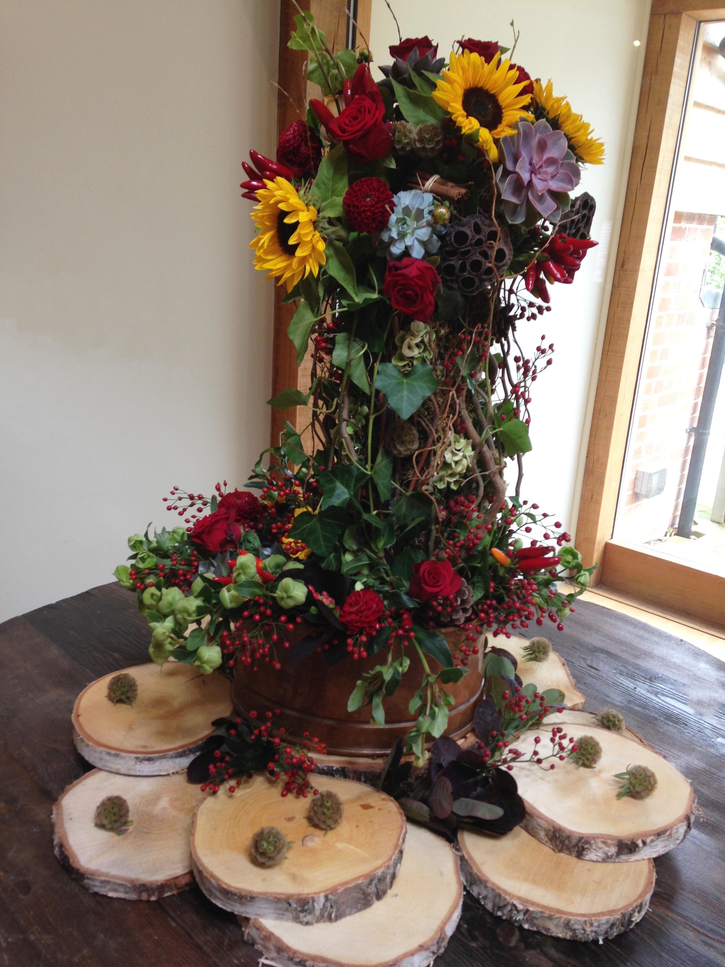 Sunflowers, Autumnal Wedding Arrangement Perfect for an