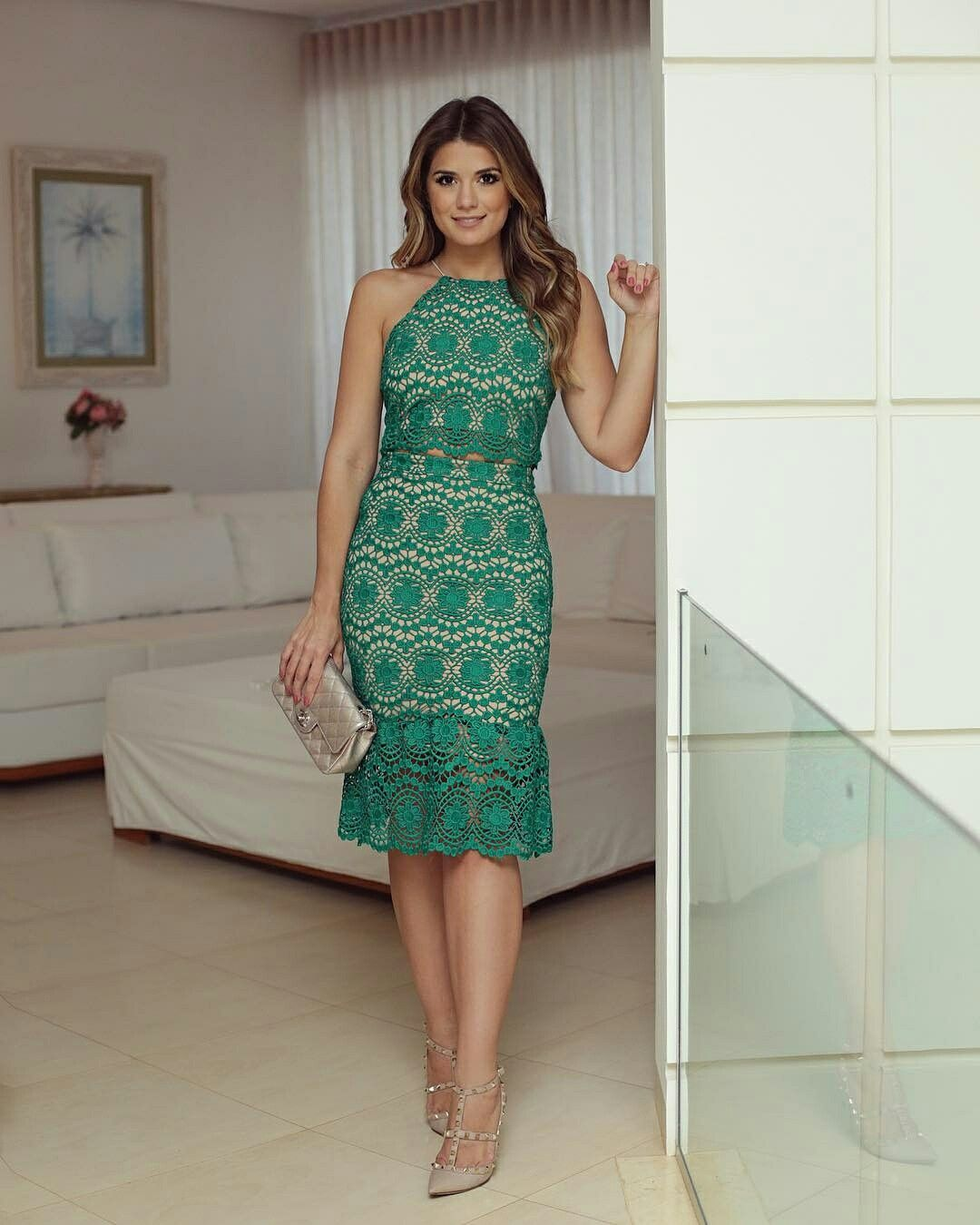 710fb6e57260 Alkalmi ruha Vestido De Guipir Curto, Vestido Social Curto, Vestido Básico,  Roupas Chique