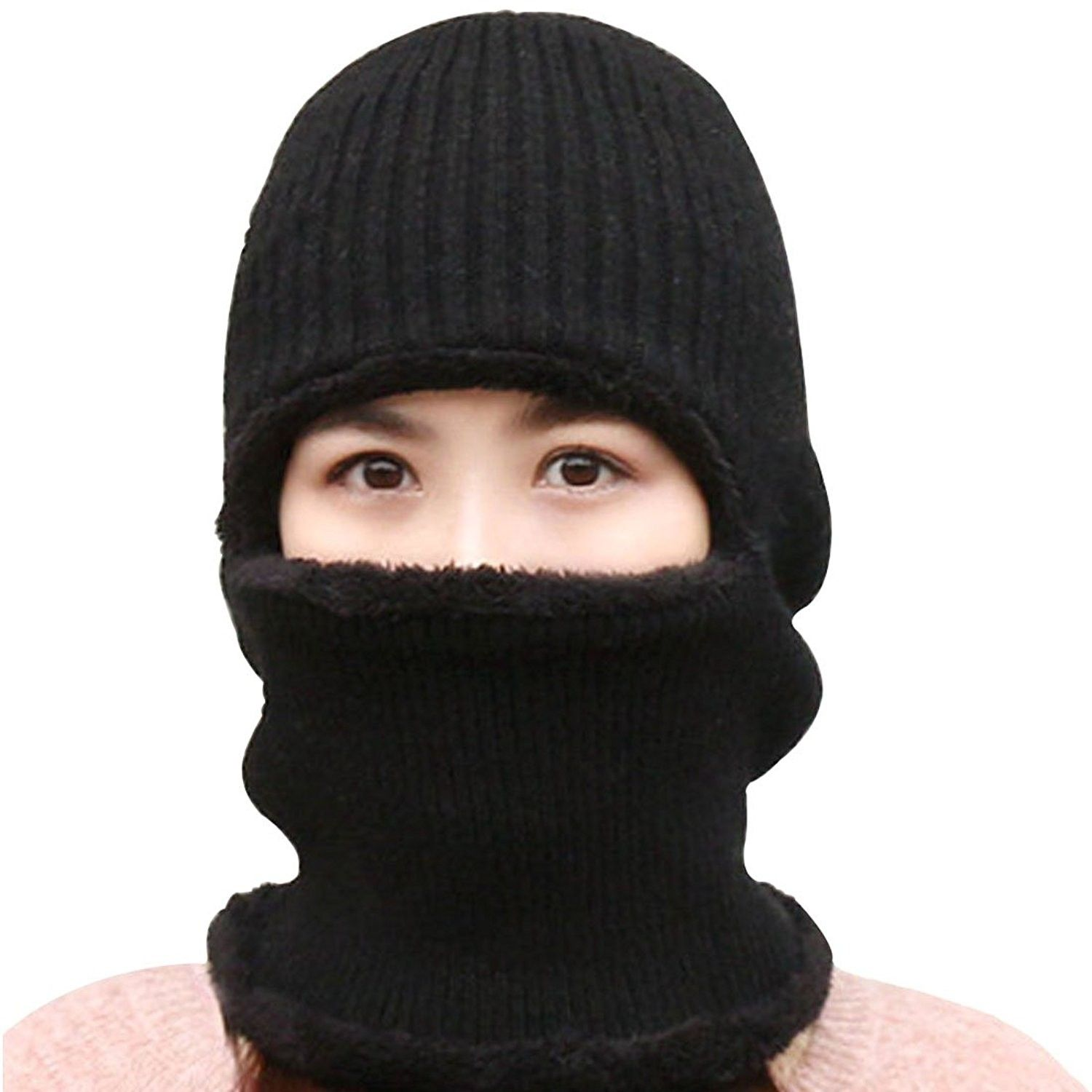 145ea55a12a Womens Knitted Beanie Hat Warm Windproof Ski Face Mask Winter Hats - Black  - CK186OL89H5 - Hats   Caps