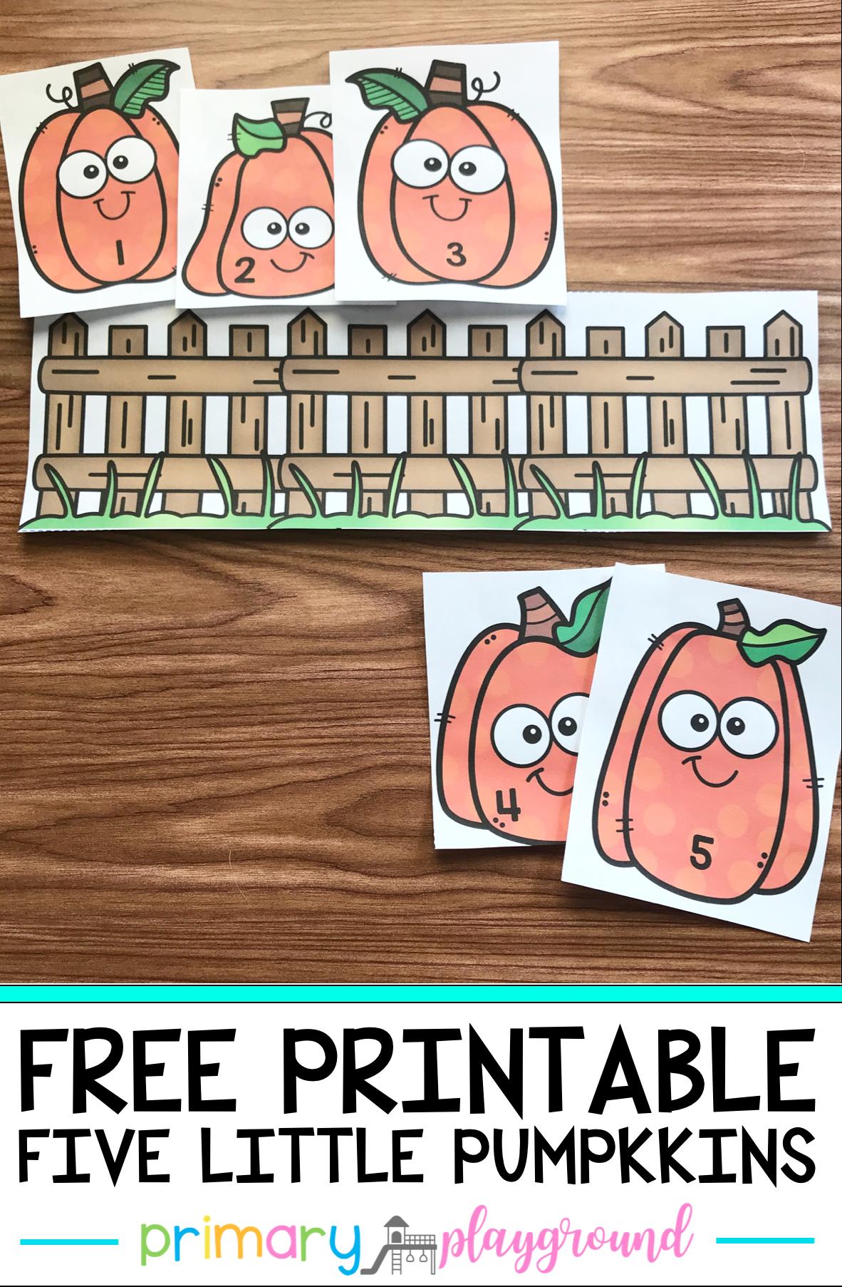 Free Printable Five Little Pumpkins
