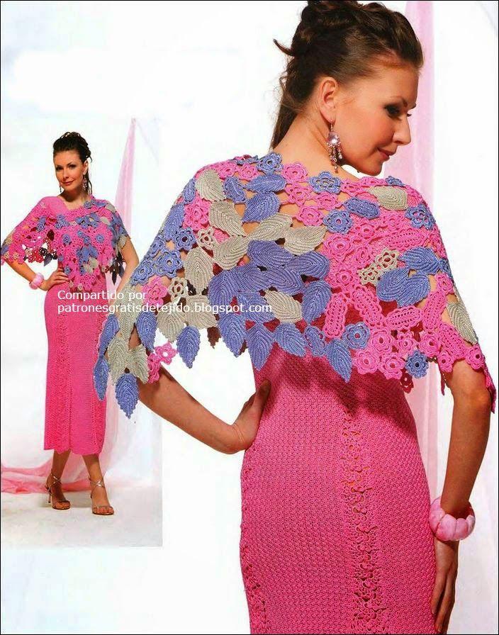 Patrones de crochet irlandés para tejer chal de dama muy lindo ...
