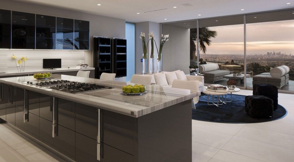 Modern Luxury Kitchen With Polished Marble Countertop And Dark Grey High Gloss Cabinets Also White Bar