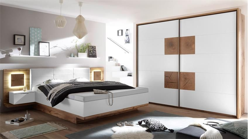 Schlafzimmer Capri Xl Set Wildeiche Weiss Hirnholz Inklusive Led