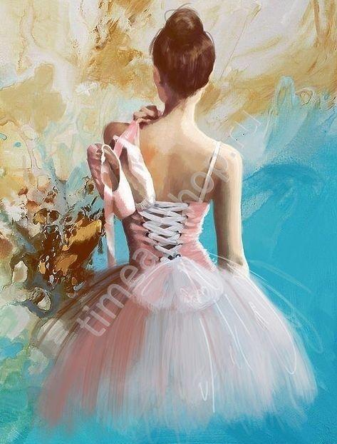 Балерина, картина раскраска по номерам, размер 40*50 см ...