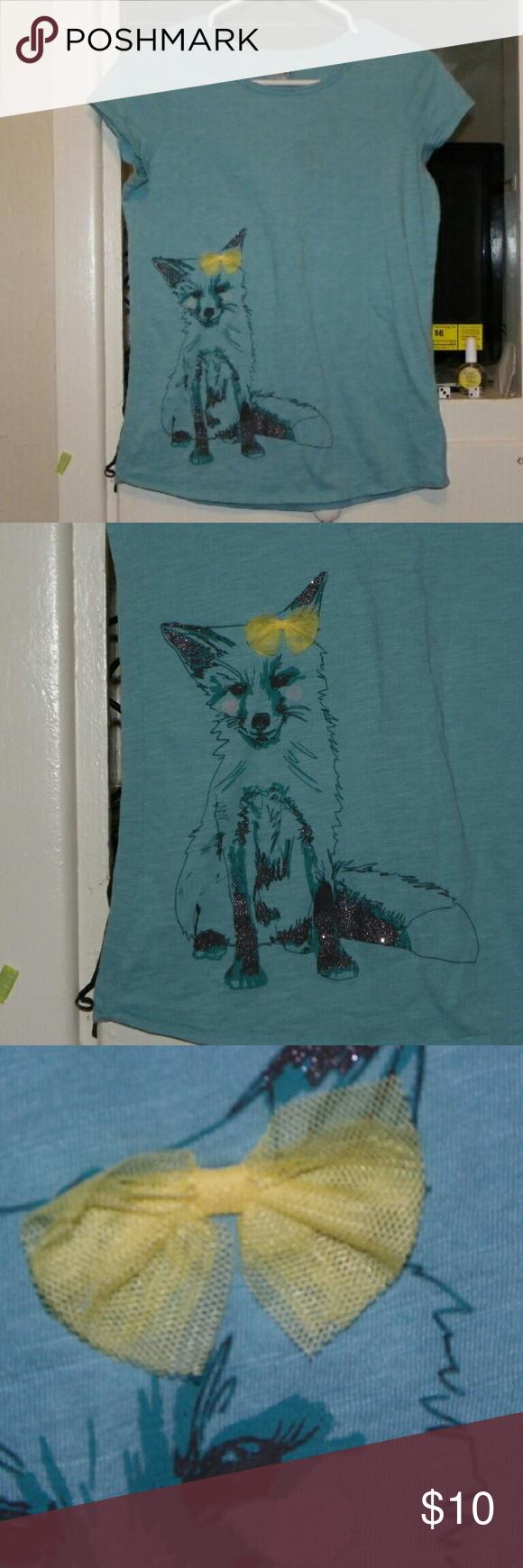 Fox Bow Tee Cute girls tee with fox and real bow Shirts & Tops Tees - Short Sleeve