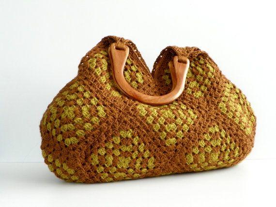 Hand crochet granny square handbag.  Love!