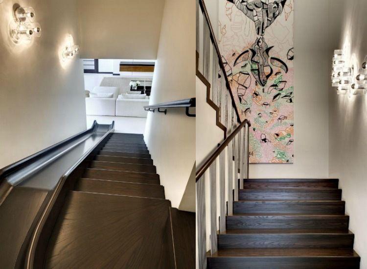 Escalier toboggan d 39 int rieur en bois fonc tableau for Toboggan escalier