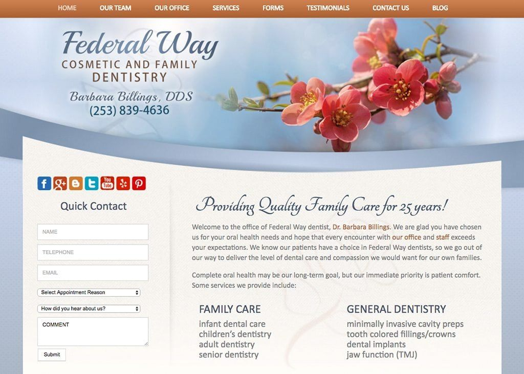 Federal Way Dentist Website Design By Optimized360 Dental