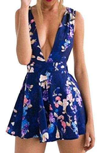 52908d40b1b1 XTX Womens Short Sexy Floral Print Sleeveless Jumpsuits Romper Sapphire Blue  S    More info could be found at the image url.