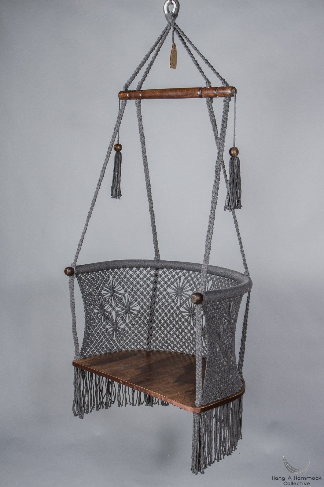 Macrame hanging chair in grey dark wood hanging chair cotton