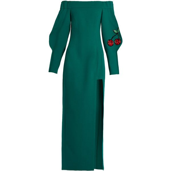 eda2421bb3d Natasha Zinko Off-the-shoulder cherry-embellished wool gown