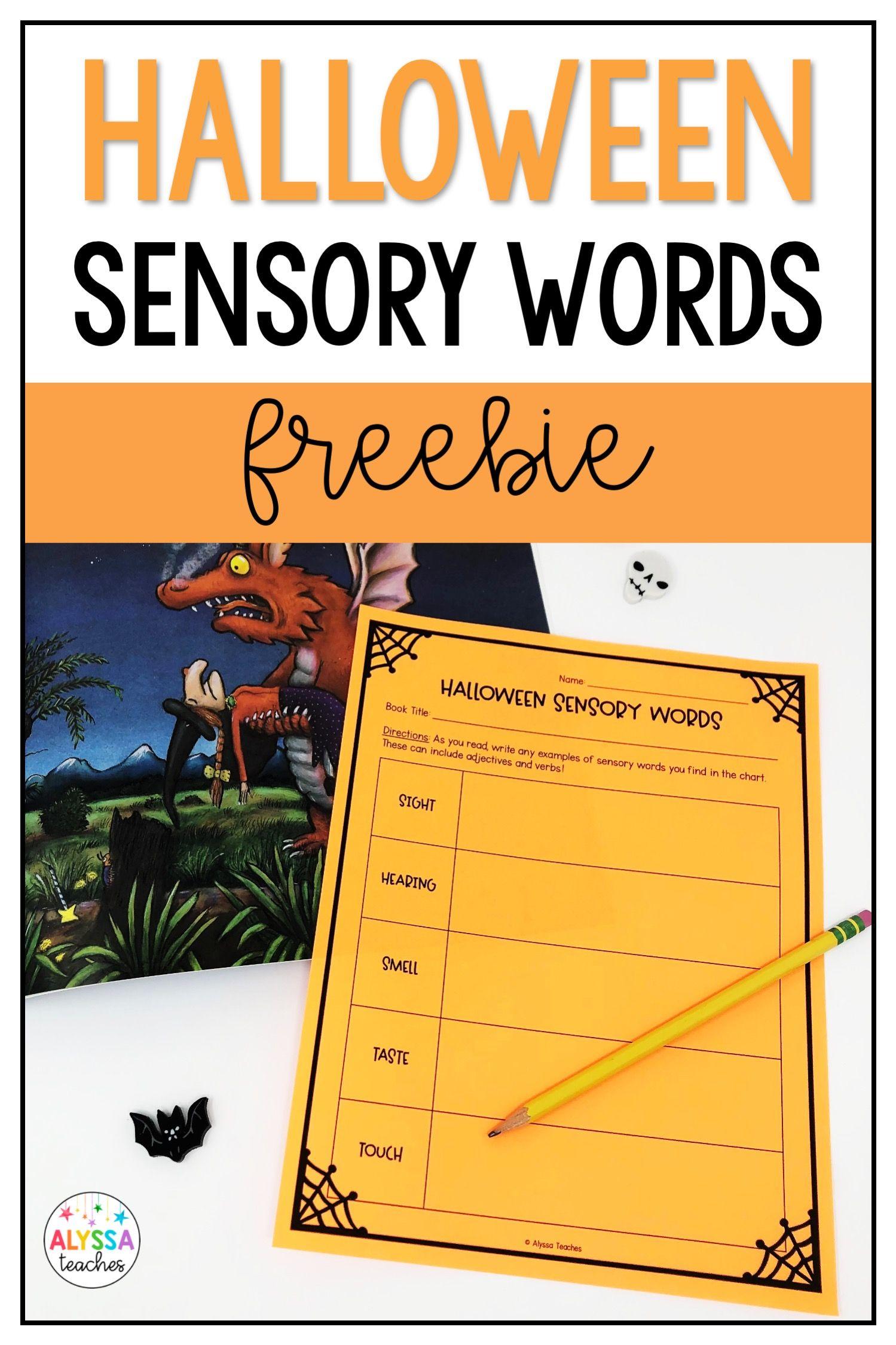 Halloween Sensory Words Free Worksheet In 2020 Sensory Words Teaching Blogs Halloween Reading Activity [ 2249 x 1499 Pixel ]