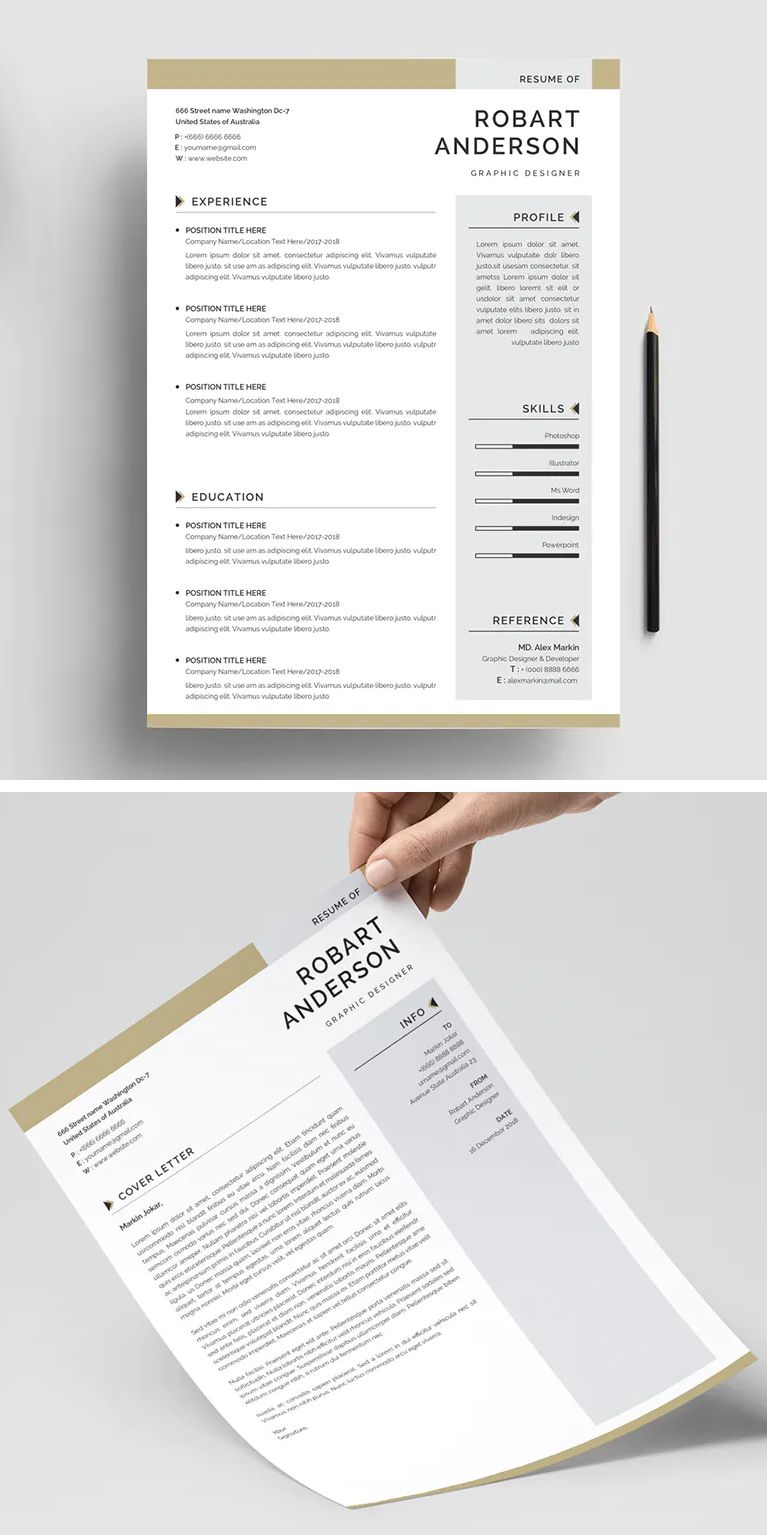 Clean Resume Template Vector EPS, PSD and MS WORD
